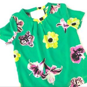 J. Crew Swoop Silk Top in Punk Floral Green